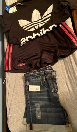 Adidas Girls Clothes Pink, White, Black Outfit And Jean Shor