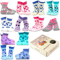TeeHee Kids Girls Cotton Basic Crew Socks 12 Pair Pack Large