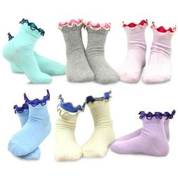 TeeHee Kids Girls Cotton Double Ruffle Crew Socks 6 Pair Pac