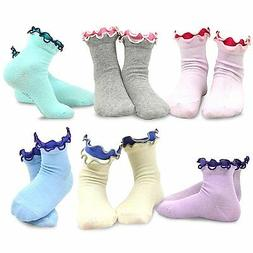 TeeHee Kids Girls Double Ruffle Fun Soft Crew Socks 6 Pair S
