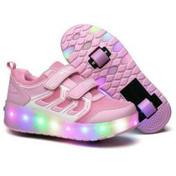 Girls Double Wheels Sneakers LED Rechargeable Sport Shoes wi