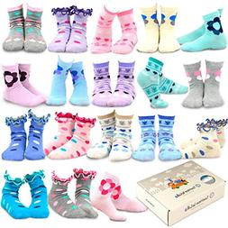 TeeHee Kids Girls Fashion Cotton Fun Crew 18 Pair Pack Gift