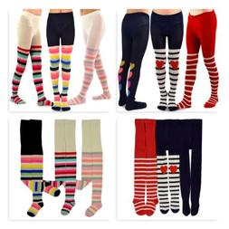 TeeHee Kids Girls Fashion Cotton Tights 3 Pack Stripe Heart