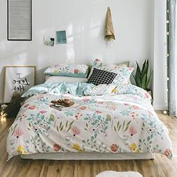 Girls Floral Full Duvet Cover Set 100 Percent Cotton Bedding
