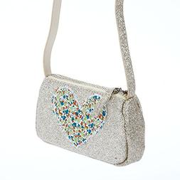 Peppercorn Kids Girls Glitter Purse with Heart Applique-Cham