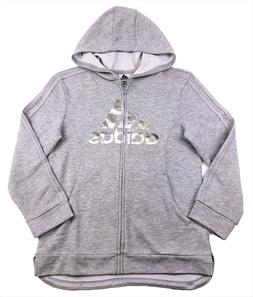 Adidas Girls Kids Full Zip Hoodie Size XL - Light Gray