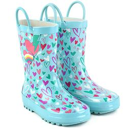 Landchief Girls Kids Printed Rain Boots,Waterproof Toddler R