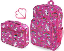 Keeli Kids Girls Lunch Box Backpack School Book Bag Set in U