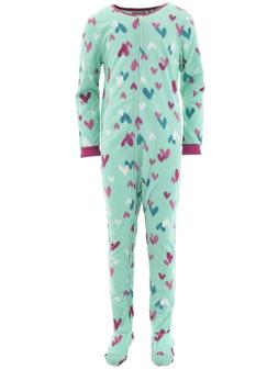 girls mint hearts footed pajamas