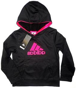 ADIDAS Girls Pullover Fleece Lined Hoodie Sweatshirt Black P
