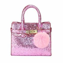 girls small shoulder handbag shinny pink glitter