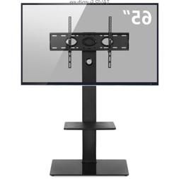 Glass Floor TV Stand with Swivel Mount for 32 to 65 inch Fla