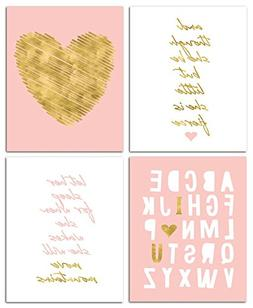 "8"" x10"" Gold Heart Nursery Prints for Baby Girl & Children R"