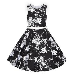 HBB MAGIC Girls 50s Vintage Black w/ Floral  Audrey Retro Sl
