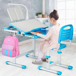 Height Adjustable Kids Study Desk Chair Set Children Table w