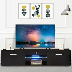 63'' Modern Black TV Stand Cabinet Console Furniture w/ 2 Dr