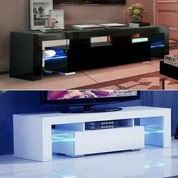 High Gloss TV Stand Unit Cabinet w/LED Shelves Drawers Remot