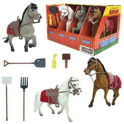 Horse Stable Play Set Farm Tools Kids Toddler Toy Animal Pre