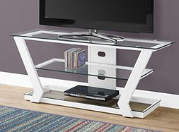 """Monarch I 2589 TV Stand-48"""" L Metal with Tempered Glass, Whi"""