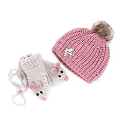 Peppercorn Kids Jeweled Rib Beanie & Mouse Mittens With Cord