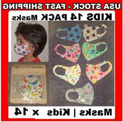 KIDS 14 Pack Face Cover 3D Mask Washable Cloth Reusable Prot