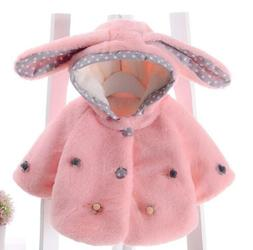 Kids Baby Girls Faux Fur Hooded Cloak Two Buckle Jacket Thic