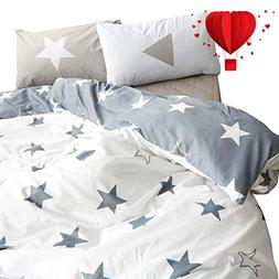 BuLuTu Five-Pointed Stars Queen Duvet Cover Set Kids Grey Wh