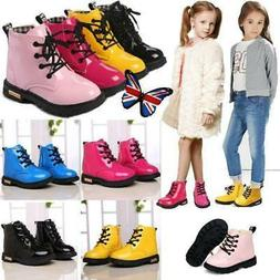 Kids Boys Girls Martin Shoes Warm Ankle Boots Lace-Up Fur Li