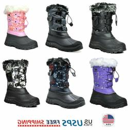 Kids Boys Girls Snow Boots Faux Fur-Lined Insulated Waterpro