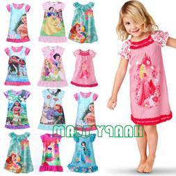 Kids Girl Cartoon Nightie Nightdress Pyjamas Tops T-shirt Fa