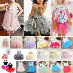 Kids Girls Baby Birthday Party Skirt Outfit Princess Wedddin