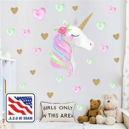 Kids Girls Bedroom Decor Unicorn Wall Decals Stickers With H