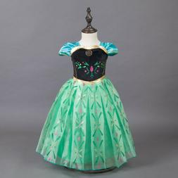 Kids Girls Disney Frozen Movie Princess Dress Anna Party Fan