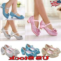 Kids Girls Mid Heels Bowknot Shoes Glitter Sequins Party Pri