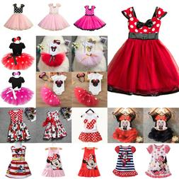 Kids Girls Minnie Mouse Tutu Dress Cartoon Princess Party Su