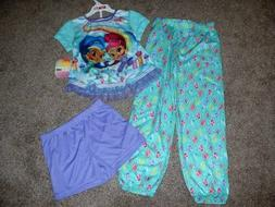 Nickelodeon Kids Girls Shimmer & Shine 3pc Shorts Pajamas Se