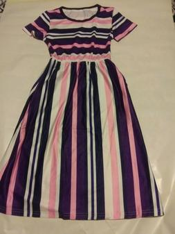 Kids Girls Short Sleeve Striped Dresses Holiday Pageant Part