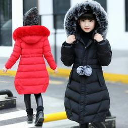 Kids Girls Thick Padded Coat Cotton Puffer Jacket Warm Fur H