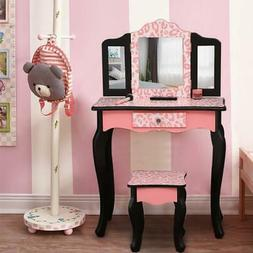 Kids Girls Vanity Table Makeup Set for W/ Drawers Dressing D