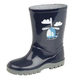 Kids StormWells HELICOPTER Navy Blue Grey Wellingtons Boots