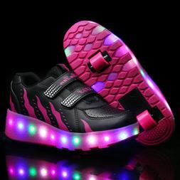 Kids LED Shoes Roller Skate Shoes Fashion Wheels Sneakers Gi