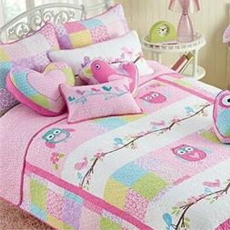 Cozy Line Pink Owl 2 Pcs Quilt Set for Kids/Girls Bedding, T