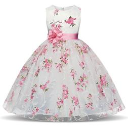 kids princess baby floral party prom gown