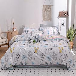 Kids Queen Bedding Sets 3 Piece Soft Cotton Floral Duvet Cov