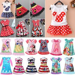 Kids Toddler Baby Girls Disney Party Princess Dress Cartoon