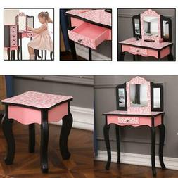 Kids Vanity Table and Stool Set with Drawer Dressing Table P