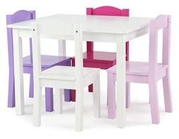 Tot Tutors Kids' Wood Table and 4 Chairs Set, White/Pink & P