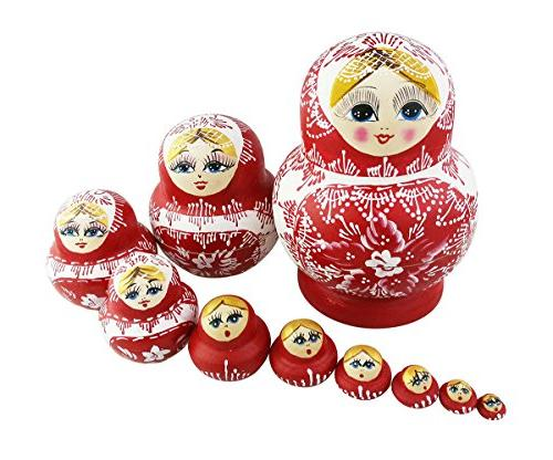 10PCS Cutie Lovely Red and white porcelain Nesting Dolls Mat