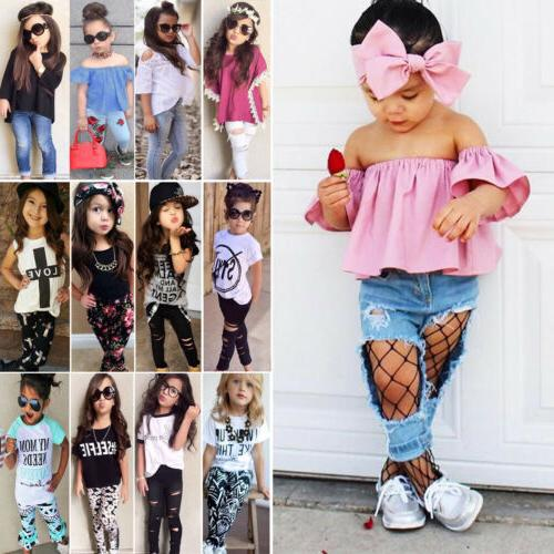 2pcs kids baby girls outfits casual t