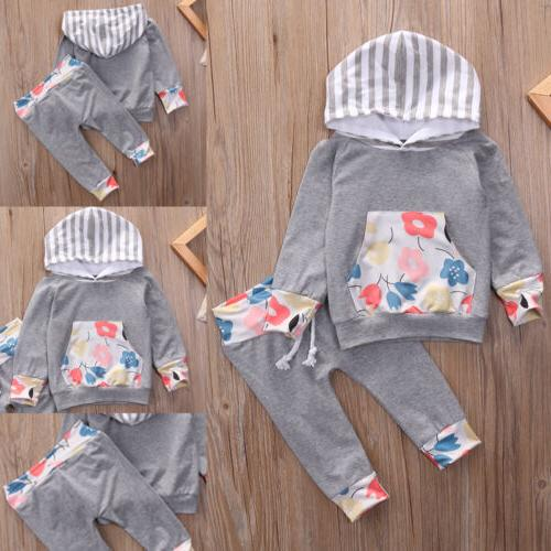 2pcs Toddler Kids Baby Girls Clothes Long Sleeve hooded Top+